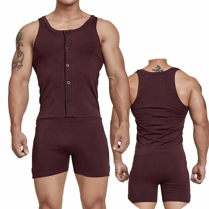 Mens Underwear Cotton One-Piece Rompers Bodysuit Wrestling Singlet Sports Leotard Fitness Jumpsuits Undershirts Boxer Shorts