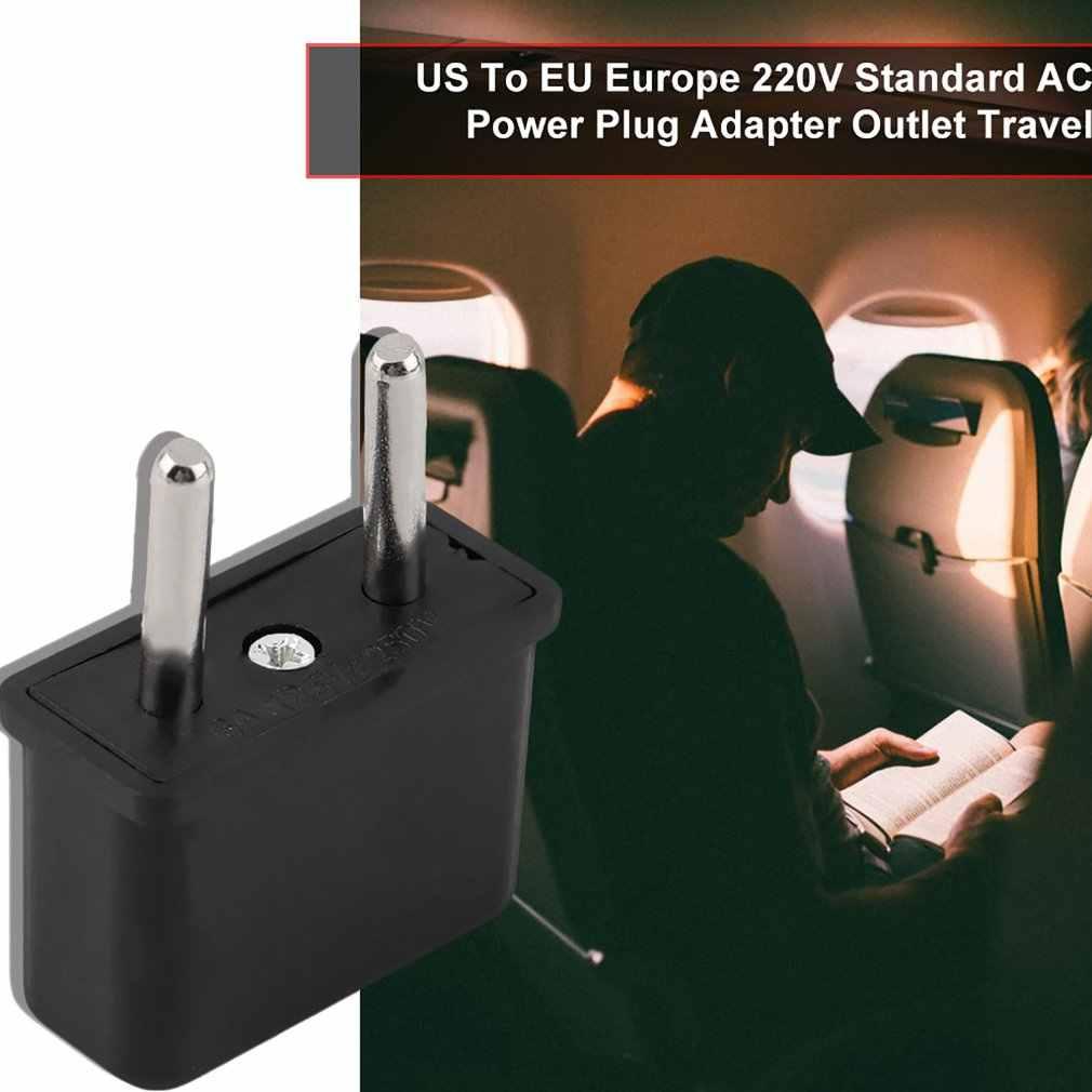 العالمي الولايات المتحدة إلى الاتحاد الأوروبي التوصيل الولايات المتحدة الأمريكية إلى أوروبا 220V السفر الأبيض جدار شاحن AC قوة المخرج محول محول 2 جولة المقبس دبوس