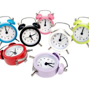 Cute Mini Round Metal Alarm Clock Vintage Retro Silent Pointer Clocks Dual Bell Loud Alarm Clock Room Decor Desk Alarm Clock