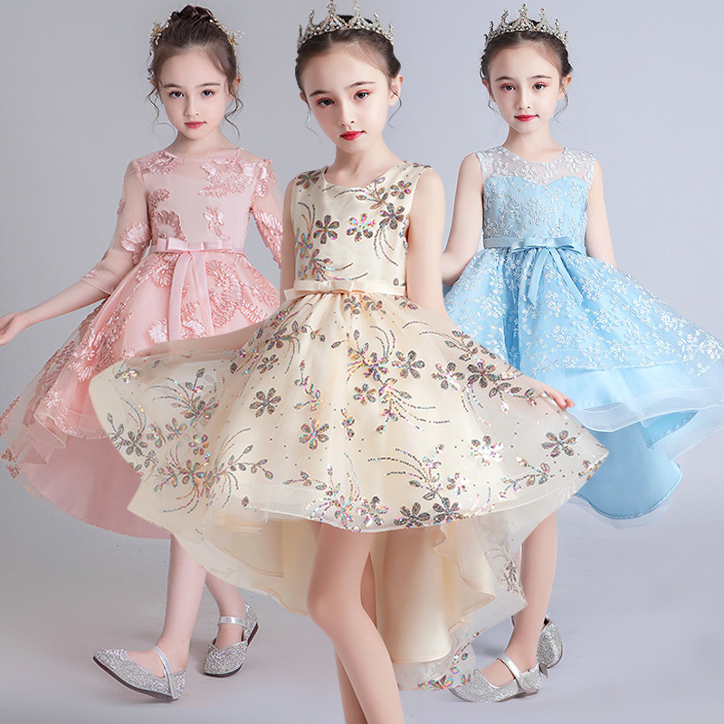 Flower Child Princess New Year Party Performance Embroidery Tail Dress Girl's Birthday Party Dinner Sleeve Dress