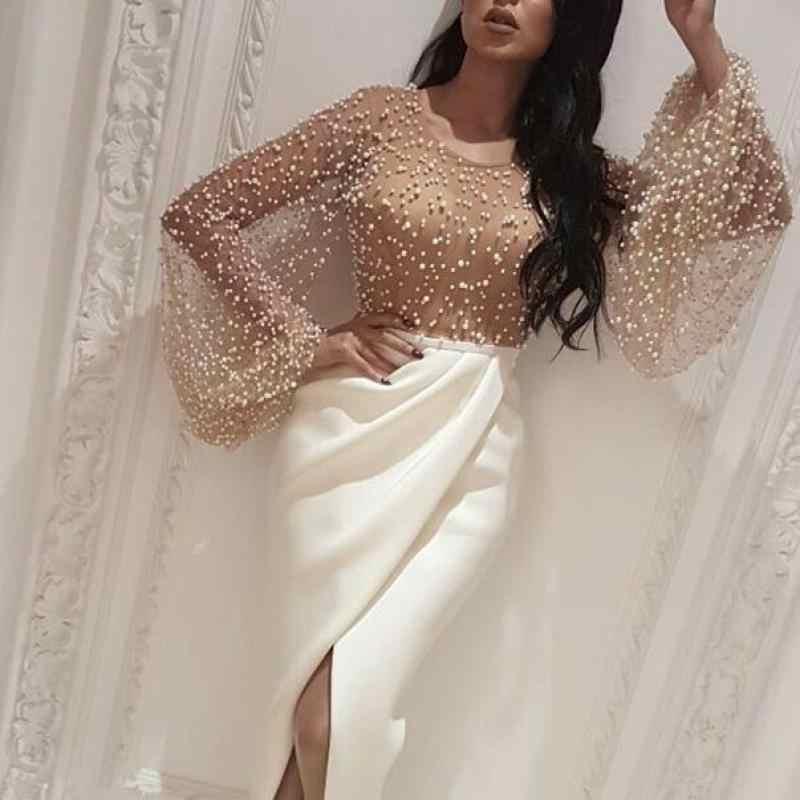 2020 outono feminino elegante vestido formal maxi vestido feminino elegante longo vestido de festa frisado embelezado malha retalhos fenda vestido