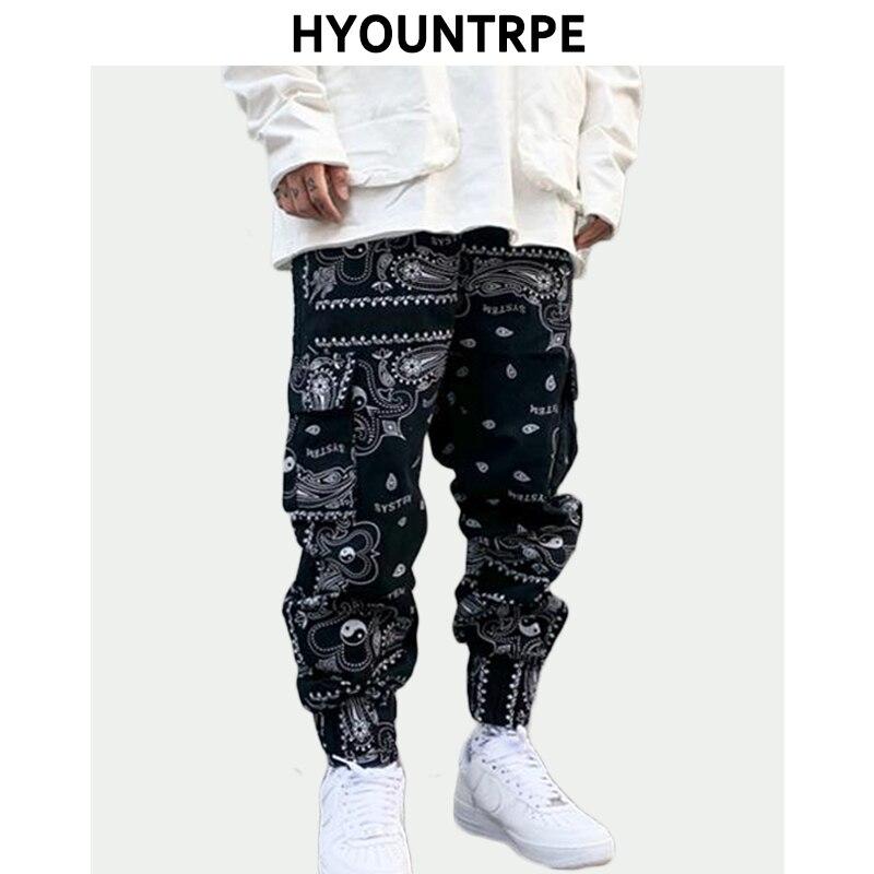 Hip Hop Loose Fit Elastic Waist Pants Fashion Printed Side Pocket Ankle Pants Mens New Casual Drewstring Sportwear Pants Joggers