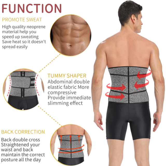 Mens Waist Trainer Modeling Belt Belly Slimming Body Shaper Tummy Control Weight Loss Shapewear Promote Sweat Slim Trimmer Belt 1