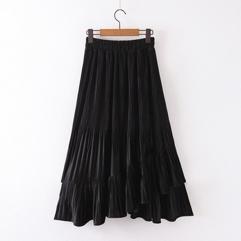 Chic Women Pleated Skirt Spring 2020 New Fashion Cascading Ruffles Black Bottom Modern Lady Mid-Calf Skirts 2