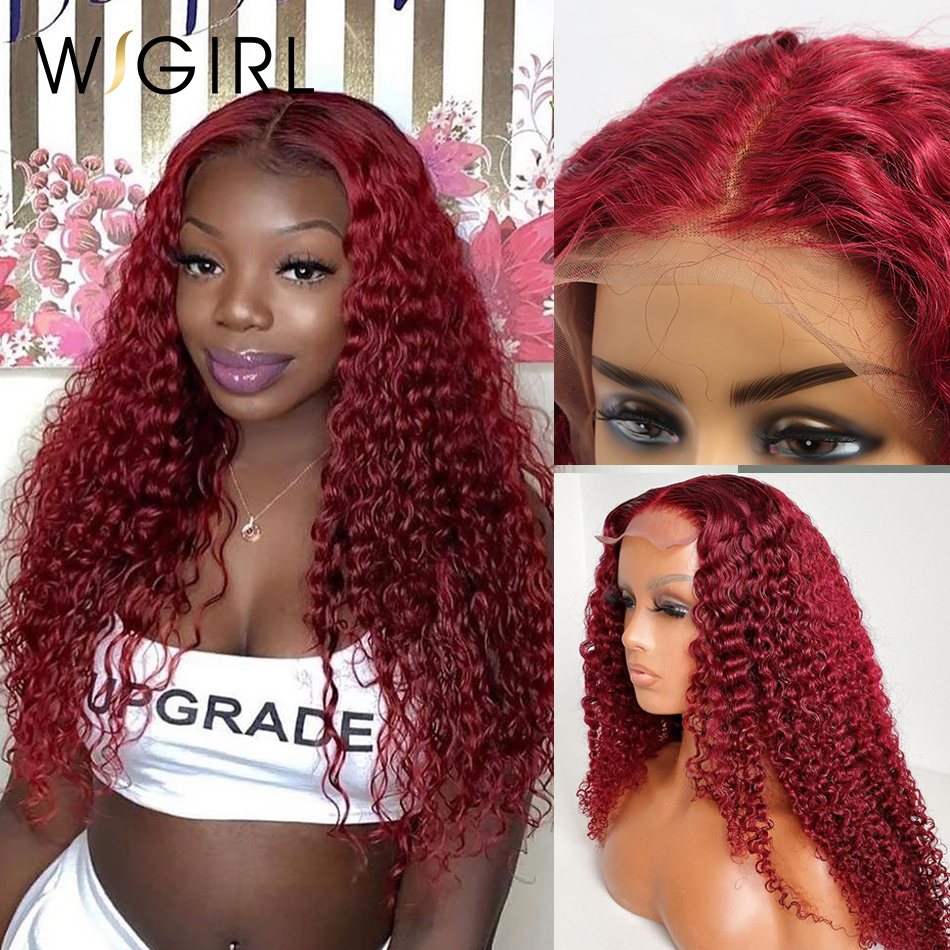 99j Burgundy 13*4 Lace Front Wig Water Curly Red Brazilian Human Hair Wigs 150 Density Deep Wave Colored  For Black Women