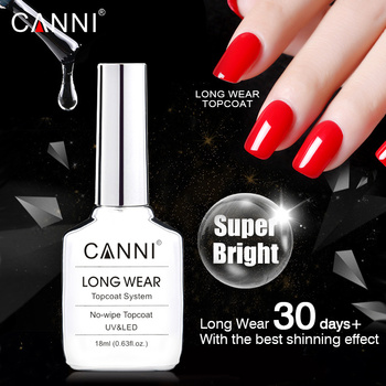 CANNI New 18ml Long Wear Topcoat No-wipe Non-cleansing Diamond Super Bright Glossing Top Coat Updated than Tempered Topcoat