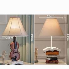 Modern Art Home Decor Resin Table Lamps Bedroom Bedside Lights Violin Book Shade Desk Lamp Vintage Standing Lighting Fixtures