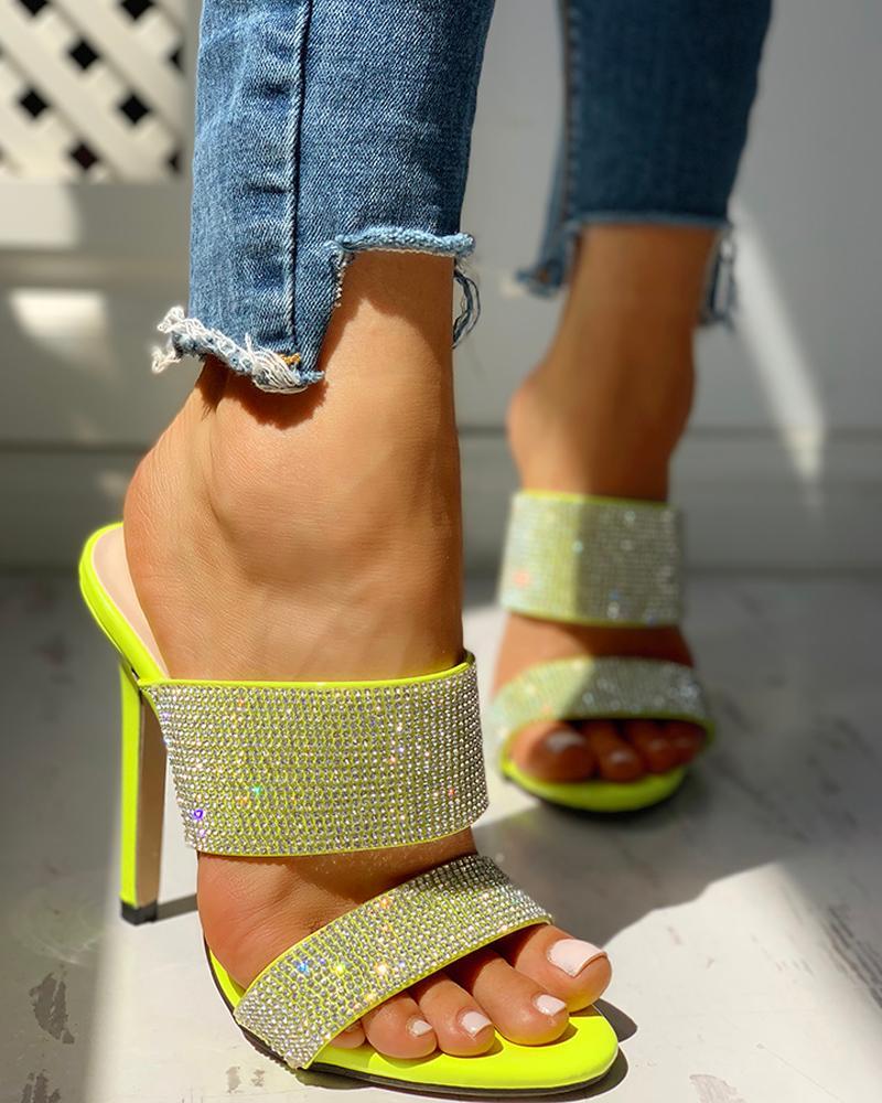 WDHKUN Woman Party Wedding Pumps Slides Plus Size 41 Sexy Yellow Crystal Sandals Women Summer 2020 Stiletto Heel Gladiator Shoes