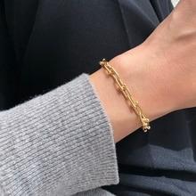 Silvology 925 Sterling Silver U Shape Wide Chain Bracelets Thick Industrial Style Punk Bracelets for Women Fashionable Jewelry