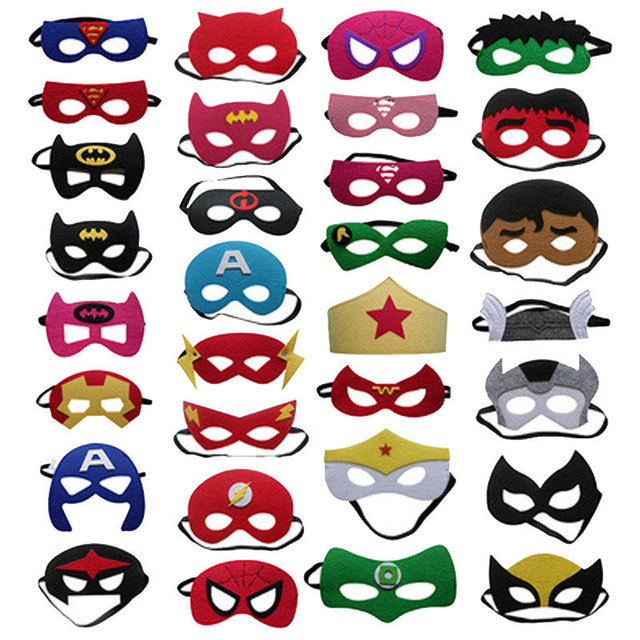 Superhero Cosplay Superman Batman Spiderman Thor IronMan kids Party Costumes Masks Cute Eye  Decorate Fancy Props Masquerade 1