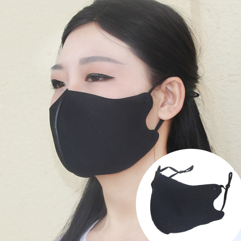 1PC Black Mouth Masks Unisex Ice Silk Cotton Sun Protect Mask Dust-proof Washable Mask Adjustable Reusable Women Men Warmers New