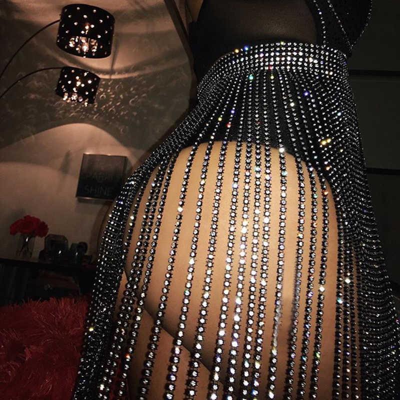 سباركلي الماس شرابة المرأة تنورة مثير الجوف خارج حجر الراين تنورة الصيف الفاخرة ليلة حفلة كلوبوير موضة المرقعة تنورة