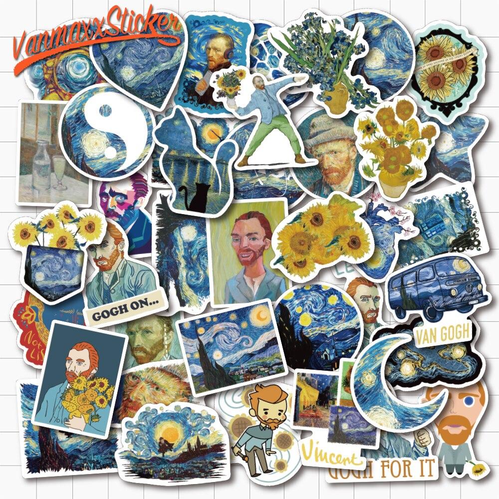 VANMAXX 40 PCS Die Cut, Van Gogh's Works Art Stickers Waterproof PVC Decal For Laptop Refrigerator Helmet Bicycle Luggage Guitar