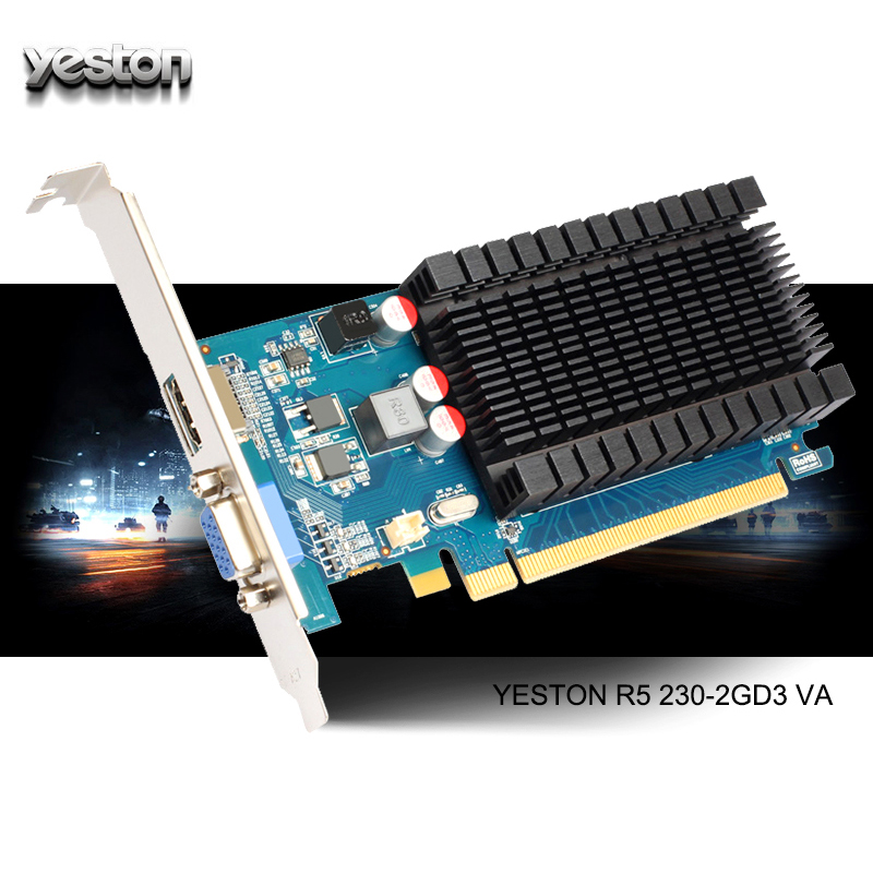 Yeston Radeon R5 230 <font><b>GPU</b></font> <font><b>2GB</b></font> GDDR3 64 bit Gaming Desktop computer PC Video Graphics Cards support VGA/HDMI PCI-E X16 2.0 image