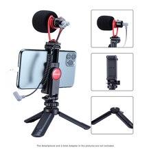 Ulanzi kayıt mikrofon Tripod Vlog kiti Mini Tripod dikey çekim telefon montaj kiti 3.5MM Jack Video ses mikrofon
