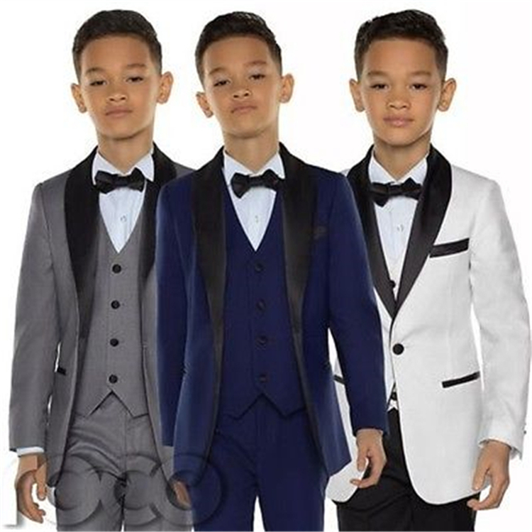 Blue Boys Suit Shawl Lapel One Button Three Piece Boy Tuxedos Communion White Kids Tuxedo Attire Wedding Blazer Boy Formal Gowns