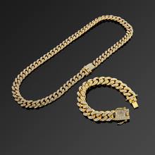 цена на NYUK 13mm Iced Out Cuban Necklace Chain Hip hop Jewelry Gold Silver Rhinestone CZ Clasp for Mens Rapper Fashion Necklaces Link
