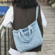 New Denim Women Messenger Bags Large Capacity Jeans Shoulder Bag Girls Crossbody Bags Travel Book Shoulder Bag Bolsas Feminina