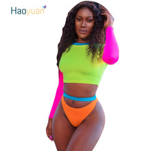 HAOYUAN Neon Green Sexy Two Piece Set Summer Beach Culb Outfits Crop To