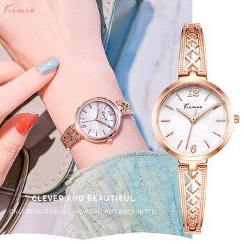 KIMIO Quartz Designer Brand Luxury Women Watch Rosegold Hollow Bracelet Fashion Casual Dress Female Wristwatch Dropshipping 2020