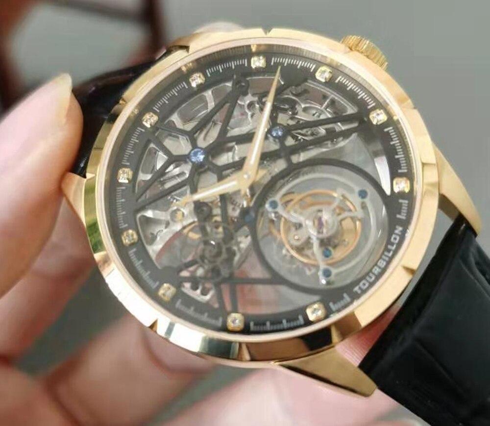 New Model GUANQIN 100% Original Tourbillon men watch top brand luxury double Skeleton Sapphire Relogio Masculino 25