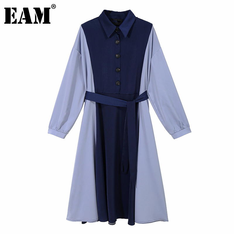 [EAM] Women Black Contrast Color Split Joint Shirt Dress New Lapel Long Sleeve Loose Fit Fashion Tide Spring Autumn 2020 1Z570
