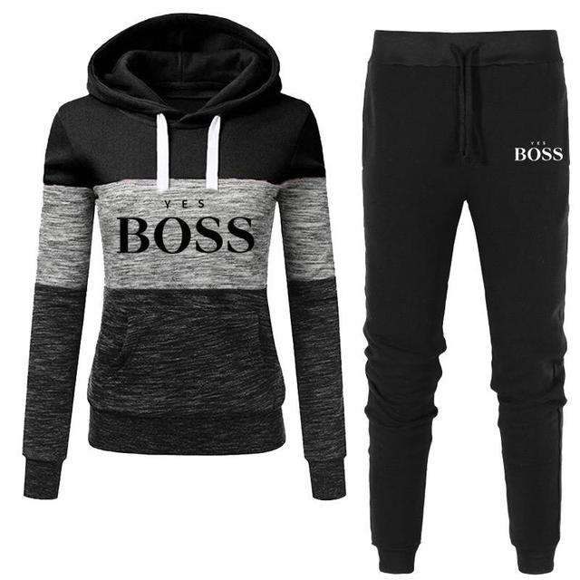 2021 Autumn Winter Hot Brand  Two Pieces Sets Thick Hoodies Tracksuit Women Sportswear Gyms Fitness Training Sweatshirts 2