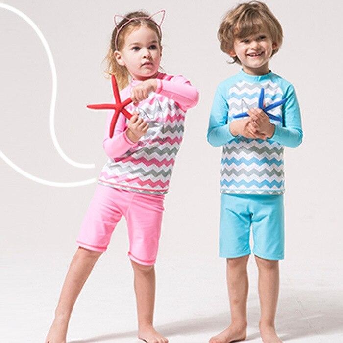 2017 New Style Fashion Korean-style Ridge Design Children Two-piece Swimsuits Big Kid-