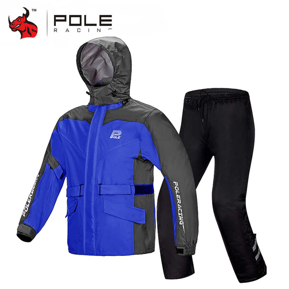 POLE Waterproof Motorcycle Raincoat+Rain Pants Moto Rain SuitVentilate Poncho Motorcycle Rain Jacket Riding Motorbike Rain Shoes