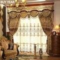 Шторы в европейском стиле для гостиной, столовой, спальни, ажурные шторы с вышивкой, тюлевые желтые тканевые шторы с вышивкой на окна