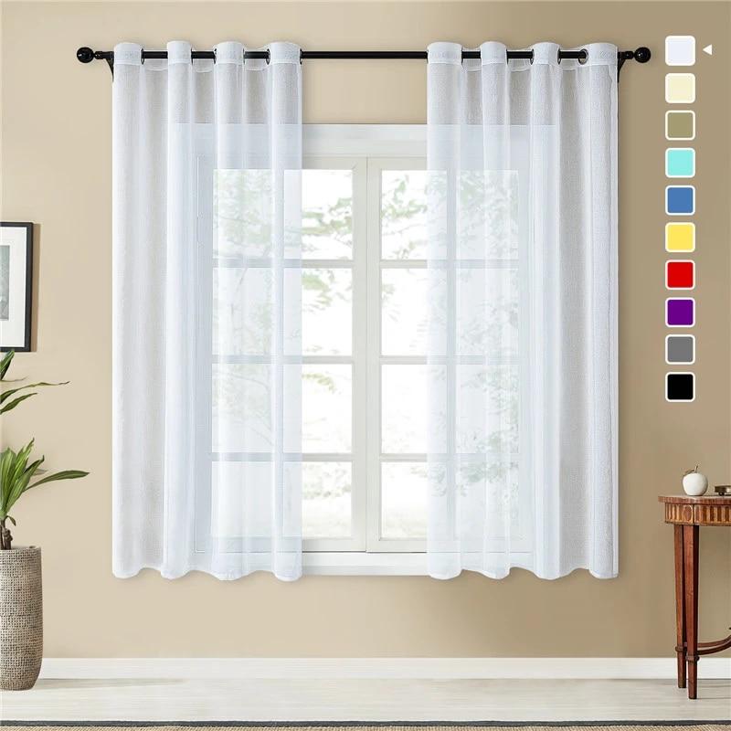 topfinel rideau en voile uni blanc pur pour porte fenetre salon chambre a coucher cuisine rideaux decoratifs en tulle
