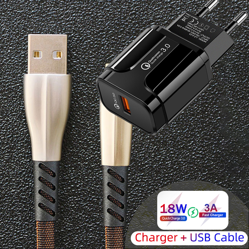 Phone <font><b>Charger</b></font> Quick Charge QC 3.0 18W 3A Fast Charging EU US Plug Wall Adapter + <font><b>USB</b></font> Cable For iPhone <font><b>5</b></font> 5S 6 6S 7 8 11 X XR Max image