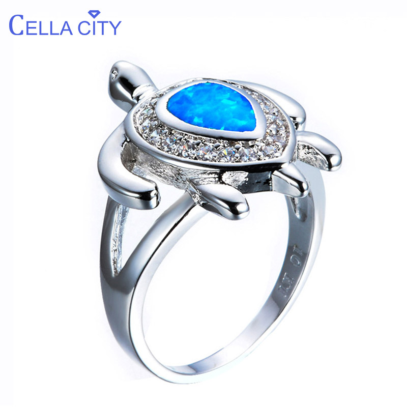 Cellacity Trendy Gemstones Rings For Women Silver 925 Jewelry With White Blue Opal Zircon Turtle Shaped Ring Size6,7,8,9 Party