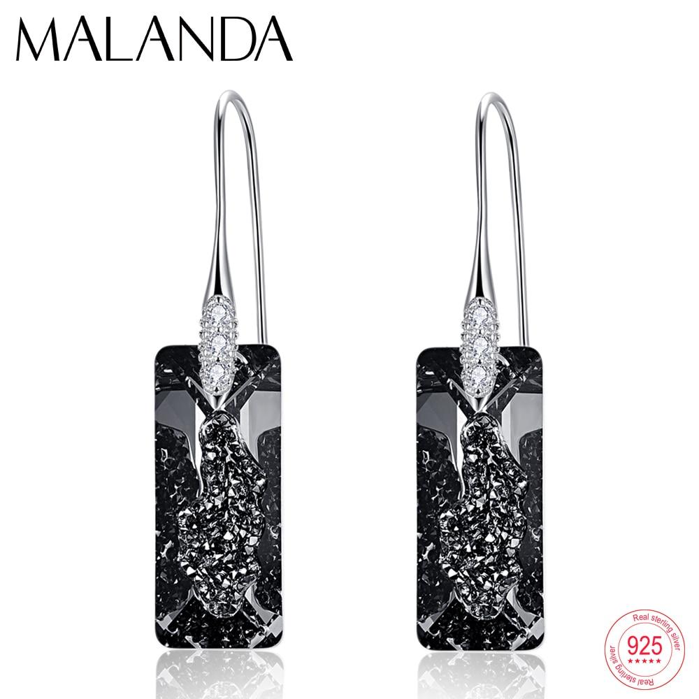 Crystals From Swarovski Growing Crystal Pendant Drop Earrings For Women Fashion Sterling Silver Dangle Earrings Handmade jewelry