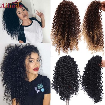 AILIADE Draw string Puff Afro Kinky Curly ponytail African American Short Wrap Synthetic clip in Hair Extensions 12inch - discount item  40% OFF Synthetic Hair