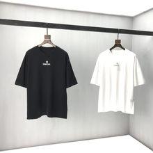 2021 primavera Verano femenino carta bordado algodão preto manga corta masculino camiseta 46