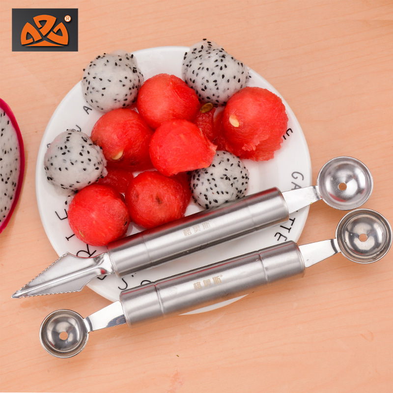 Currently Available Supply Carving Knife Stainless Steel Fruit Melon Baller Double Headed Watermelon Pulp Spoon Kitchen Gadgets