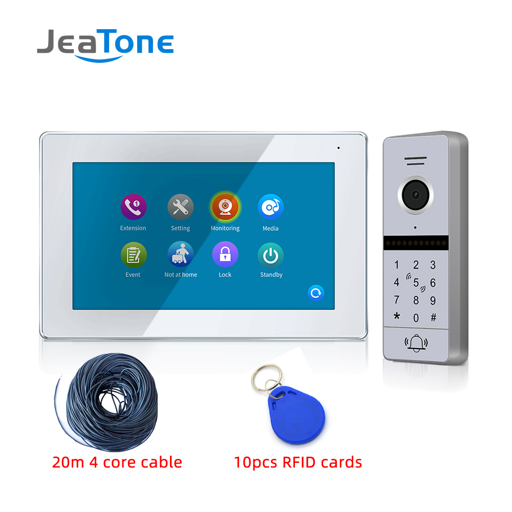 New Arrival 7 Inch FHD 1080P Glass Touch Screen Video Door Phone Intercom System With RFID Card/Password Function For Villa