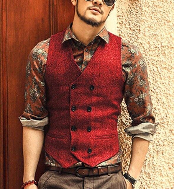 Burgundy-Men-s-Double-breasted-Vest-slim-fit-woolen-Tweed-suit-vest-casual-top-quality-Herringbone.jpg_640x640