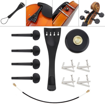 цена на 11 in 1 Cello Parts & Accessories Set Ebony Tuning Peg + Fine Adjuster + Tailpiece + Tail Nut and Rope for 4/4 Violoncello