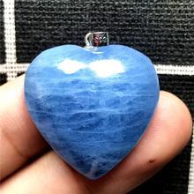 Pendentif coeur aigue marine bleu océan naturel pour femmes cristal 26x9mm perles pierre claire 925 argent collier pendentif bijoux AAAAA