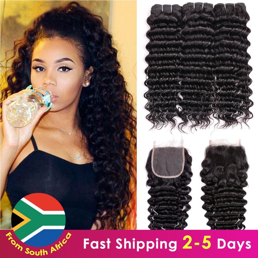 SA Ship  Deep Wave Hair Bundles With Closure  s 3 Bundles Deep Wave With Closure 1