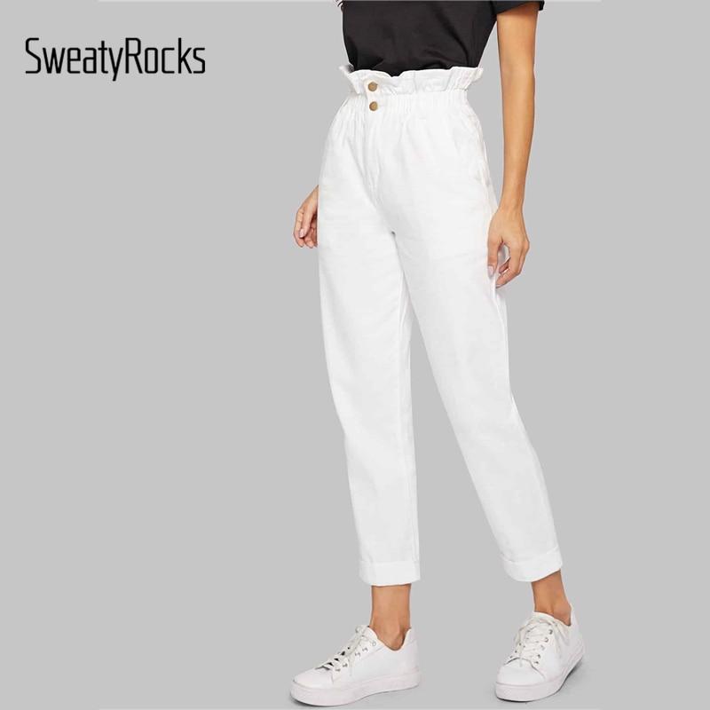 SweatyRocks White Ruffle Waist Solid Crop Jeans 2019 Autumn Casual Streetwear High Waist Women Solid Straight Leg Denim Pants