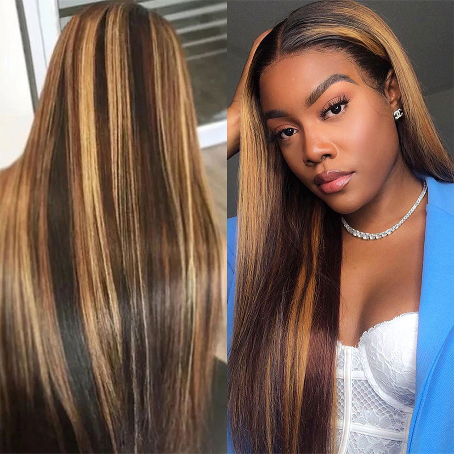 Brown Ombre Bone Straight Lace Front Wig  Virgin Hair  T Part Hd Highlight Lace Frontal  Wigs 5