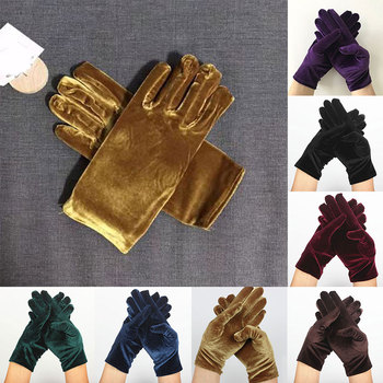 Etiquette Cycling Gloves 1 Pairs Soft Elastic Hand Warmer Comfortable Full Finger Gold Velvet Solid Color