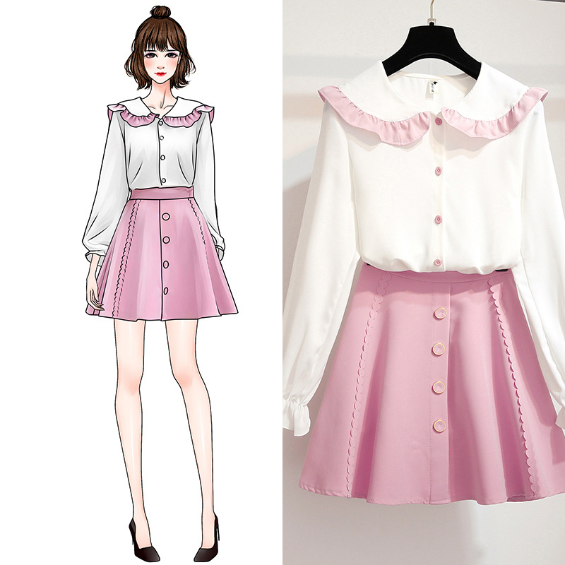 Autumn Winter Suits Shirt & Pleated Skirts Two-Piece Outfit Sweet Peter Pan Collar Skirt Women Clothing Set Vestido Vogue Suit