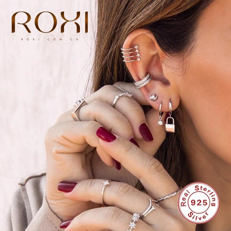 ROXI Vintage Glossy Lock Pentagram Black Zircon Water Droplets Snowflake Drop Earrings for Women 925 Sterling Silver Jewelry