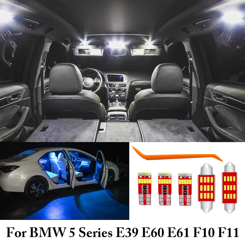 White Ice Blue Error Free Canbus <font><b>LED</b></font> Lamp <font><b>Interior</b></font> Reading Dome Map Cargo Light <font><b>Bulbs</b></font> Kit For <font><b>BMW</b></font> 5 Series E39 <font><b>E60</b></font> E61 F10 F11 image