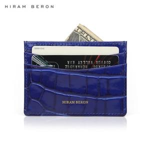 Image 5 - חירם Beron אמיתי כרטיס עור בעל גברים פרה עור עם תנין דפוס ארנק משלוח מותאם אישית שם מזהה אשראי כרטיס ארנק