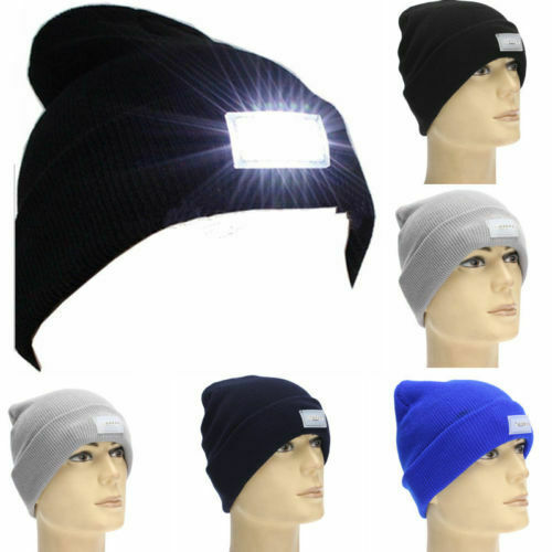 Bright LED Knitted Hat Beanie Cap Light Headlight HeadLamp Flashlight Cap Reading Working Unisex Hats Winter Warm Cap